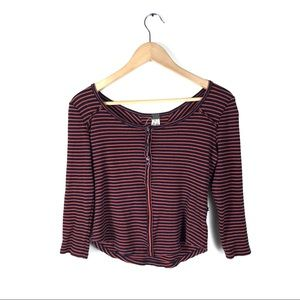 Free people top striped cropped long sleeve ribbed